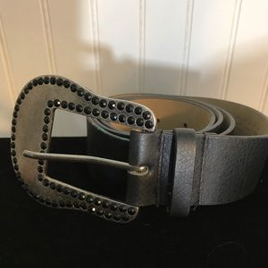 Guess Accessories - Guess Rhinestone Wide Black Belt